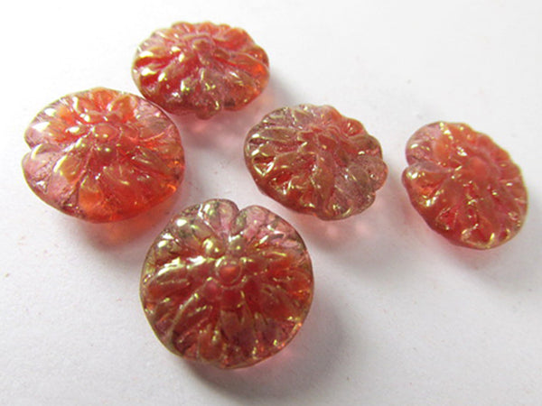 Pink Red Gold Luster Czech Glass Dahlia Flower Jewelry Beads (5 beads)-Jewelry Beads-Odyssey Cache