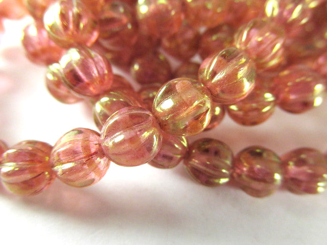 Golden Pink Coral Czech Glass 6mm Fluted Melon Jewelry Beads (25 beads) - Odyssey Cache