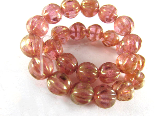Golden Pink Coral Czech Glass 6mm Fluted Melon Jewelry Beads (25 beads)-Jewelry Beads-Odyssey Cache