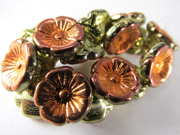 Orange Gold Luster Czech Glass 12mm Flower Buttons (15)-Jewelry Beads-Odyssey Cache