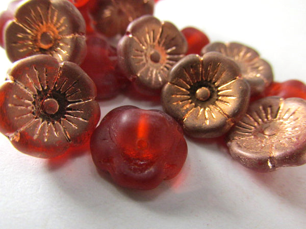 Rose Gold Orange Hyacinth Czech Glass 12mm Flower Buttons (15)-Jewelry Beads-Odyssey Cache