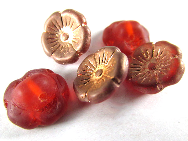 Rose Gold Orange Hyacinth Czech Glass 12mm Flower Buttons (15) - Odyssey Cache