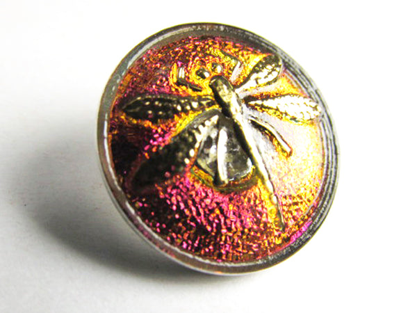 Fuchsia Orange Volcano Gold 18mm Czech Dragonfly Czech Glass Button - Odyssey Cache