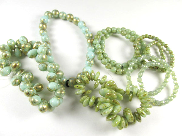 Mint Green Gold Picasso Czech 4mm round druks (50)-Jewelry Beads-Odyssey Cache