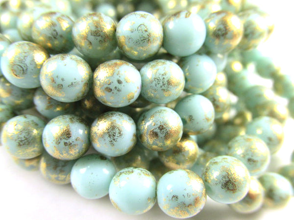 Aqua Mint Green and Gold Czech Glass 6mm Smooth Round Druk Jewelry Beads - Odyssey Cache