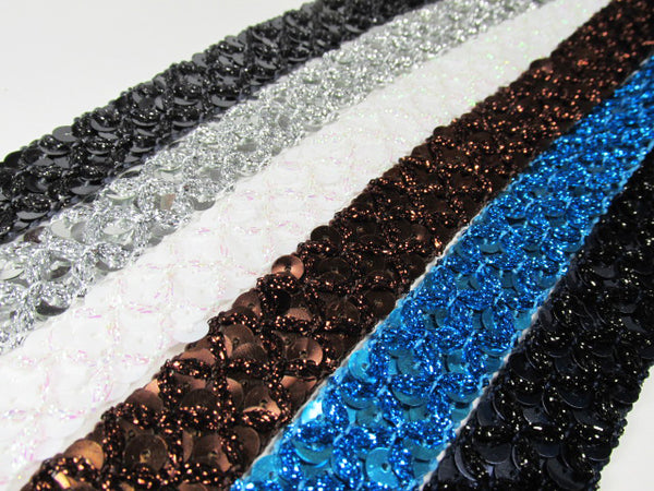 Crisscross 20mm Sequined Trim in Navy, Gunmetal, Turquoise, Brown, White AB, Silver-Trims-Odyssey Cache