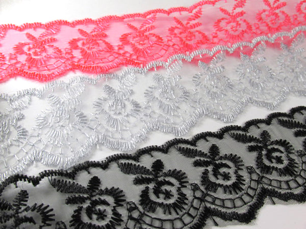 Ivory, White, Lavender, Pink, Blue, Aqua, Black, Gray, Hot Pink, Flat Polyester 1.5 inch Lace Trim-Trims-Odyssey Cache