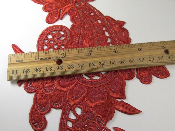 Large Burnt Red Orange 9.5 inch Iron-On Lace Flower Scoll Applique-Appliques-Odyssey Cache