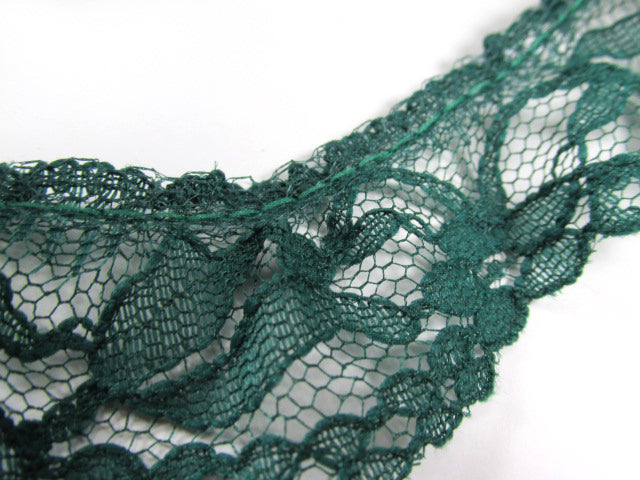 Remnant Pieces Hunter Green 1.25 inch or 30mm Ruffled Lace Trim-Trims-2 yards-Odyssey Cache