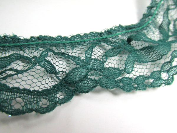 Remnant Pieces Hunter Green 1.25 inch or 30mm Ruffled Lace Trim-Trims-Odyssey Cache