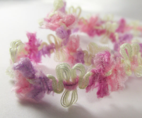 Soft 1/2 Inch Chenille Daisy Flower Trim in 5 spring, summer and autumn colors-Trims-Spring Pastel Pink Lavender Yellow-Odyssey Cache
