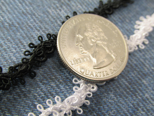Black or White Lacy Picot 7mm Narrow Gimp Trim-Trims-Black-Odyssey Cache