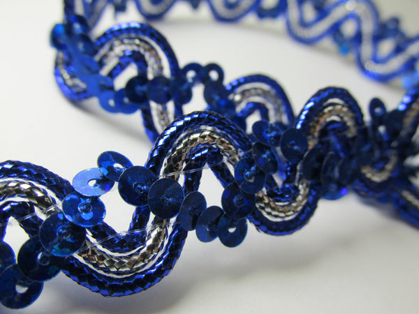 Silver Wave 5/8 Inch Sequined Trim in 6 colors-Trims-Royal Blue-Odyssey Cache