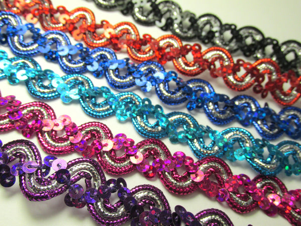 Silver Wave 5/8 Inch Sequined Trim in Blue, Turquoise, Red or Black-Trims-Odyssey Cache