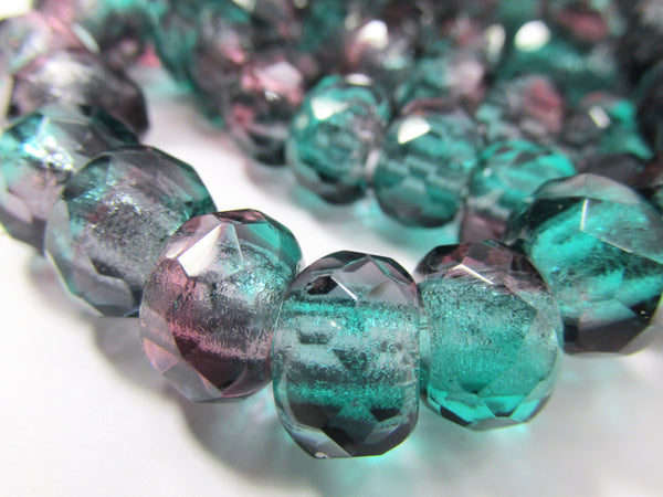 Amethyst and Turquoise Czech Large Hole 12mm Roller Beads-Jewelry Beads-25 beads full strand-Odyssey Cache