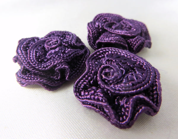 Small 3/4 Inch Woven Ribbon Rose Craft Flowers or Appliques in 9 colors-Appliques-Purple-Odyssey Cache