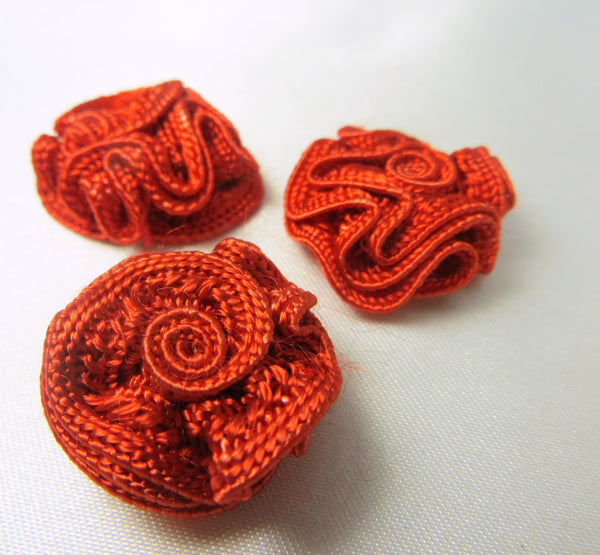 Small 3/4 Inch Woven Ribbon Rose Craft Flowers or Appliques in 9 colors-Appliques-Red Orange-Odyssey Cache