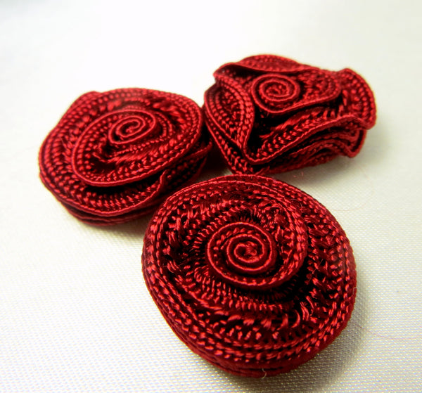 Small 3/4 Inch Woven Ribbon Rose Craft Flowers or Appliques in 9 colors-Appliques-Wine-Odyssey Cache