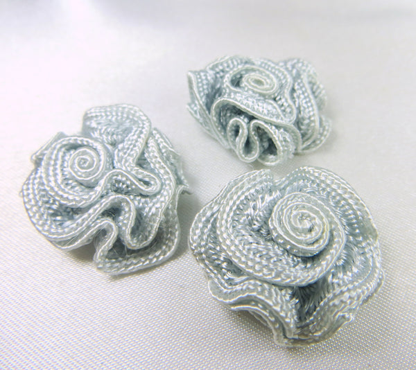Small 3/4 Inch Woven Ribbon Rose Craft Flowers or Appliques in 9 colors-Appliques-Light Blue Gray-Odyssey Cache