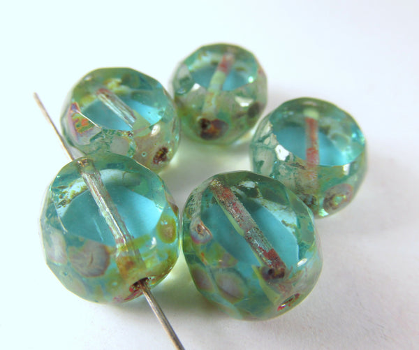 Aqua Turquoise Picasso Ocean Treasure 12mm Czech Faceted Sliced Rounds (5)-Jewelry Beads-Odyssey Cache