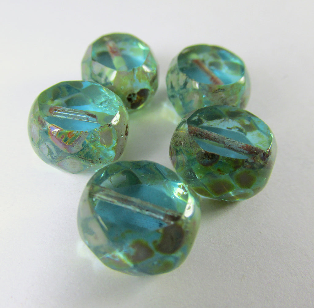 Aqua Turquoise Picasso Ocean Treasure 12mm Czech Faceted Sliced Rounds (5) - Odyssey Cache