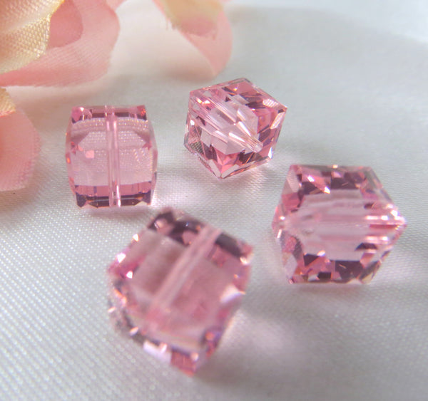 Rose Pink 7mm Swarovski 5601 Cubes (2)-Jewelry Beads-Odyssey Cache