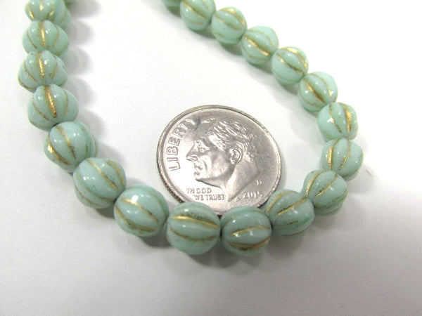 Aqua Mint Green and Gold Czech Glass 6mm Fluted Round Melon Jewelry Beads (25)-Jewelry Beads-Odyssey Cache