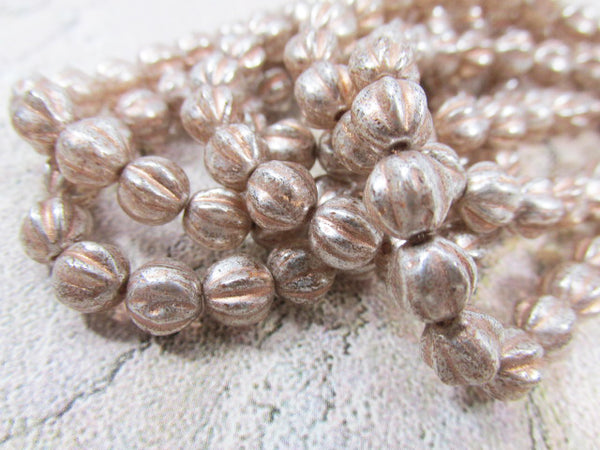 Peach Mercury Finish Czech Glass 4mm or 6mm Fluted Round Melon Jewelry Beads-Jewelry Beads-Odyssey Cache