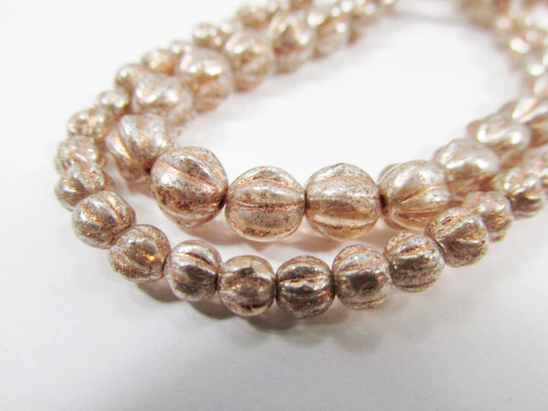 Peach Mercury Finish Czech Glass 4mm or 6mm Fluted Round Melon Jewelry Beads - Odyssey Cache