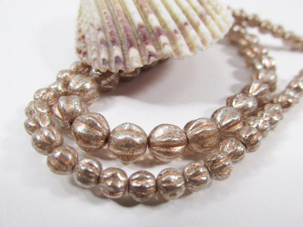 Peach Mercury Finish Czech Glass 4mm or 6mm Fluted Round Melon Jewelry Beads-Jewelry Beads-4mm (50 beads)-Odyssey Cache