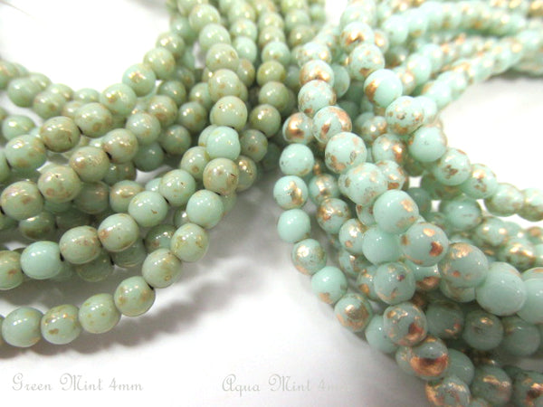 Mint Green Gold Picasso Czech 4mm round druks (50) - Odyssey Cache