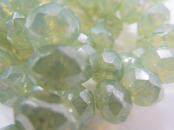 Laurel Green Opal Mint Green Czech Glass 8mm Faceted Rondelle Beads (10)-Jewelry Beads-Odyssey Cache