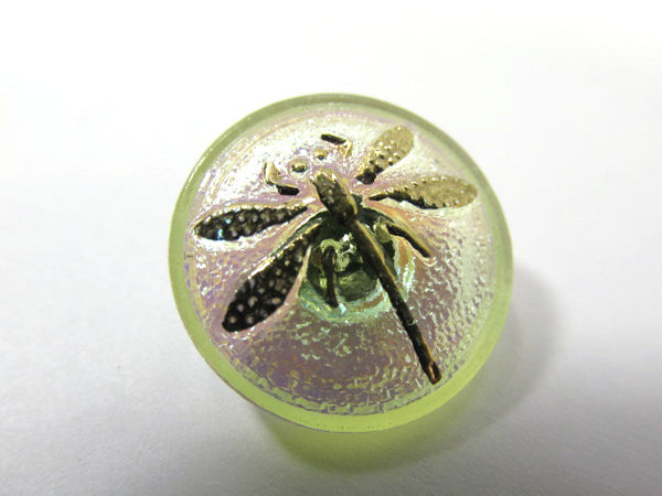 Czech Glass 18mm Button in Jonquil Yellow Green with Gold Dragonfly - Odyssey Cache