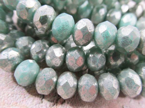 Green Aqua Mercury Finish 8mm x 6mm Czech Glass Rondelle Jewelry Beads (10) - Odyssey Cache