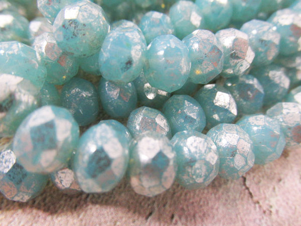 Blue Aqua Mercury Finish 8mm x 6mm Czech Glass Rondelle Jewelry Beads (10) - Odyssey Cache