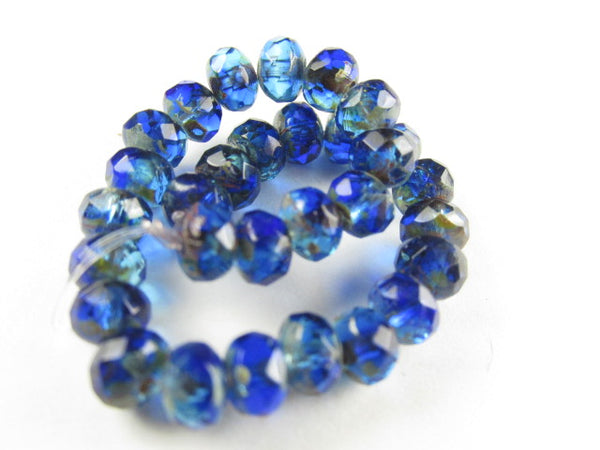 Blue Sapphire Aqua Picasso Czech Glass 5mm x 3mm Faceted Rondelles - Odyssey Cache