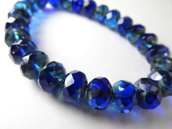 Blue Sapphire Aqua Picasso Czech Glass 8mm x 6mm Faceted Rondelles (10)-Jewelry Beads-Odyssey Cache