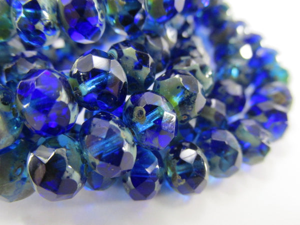 Blue Sapphire Aqua Picasso Czech Glass 8mm x 6mm Faceted Rondelles (10) - Odyssey Cache