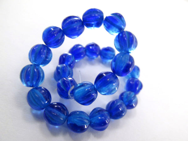 Blue Sapphire and Aqua 6mm Czech Glass Melon Jewelry Beads (25)-Jewelry Beads-Odyssey Cache