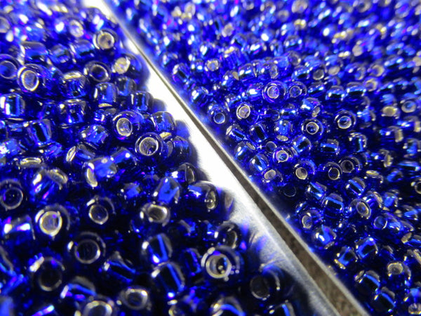 Blue Cobalt Silver Lined Size 8.0 Toho Glass Seed Beads (10 grams) - Odyssey Cache