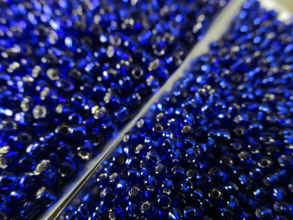 Blue Cobalt Silver Lined Size 11.0 Toho Glass Seed Beads (10 grams)-Jewelry Beads-Odyssey Cache