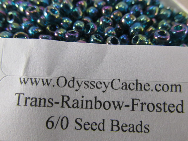 Transparent Rainbow Teal Glass 6/0 Toho  Glass Seed Beads (10 grams) - Odyssey Cache