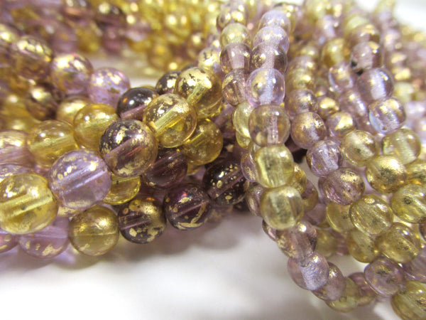 Venetian Mix Amethyst Plum Honey Czech Glass 6mm Round Druk Jewelry Beads (25 beads) - Odyssey Cache