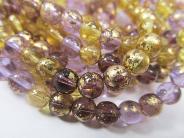 Venetian Mix Amethyst Plum Honey Czech Glass 6mm Round Druk Jewelry Beads (25 beads)-Jewelry Beads-Odyssey Cache