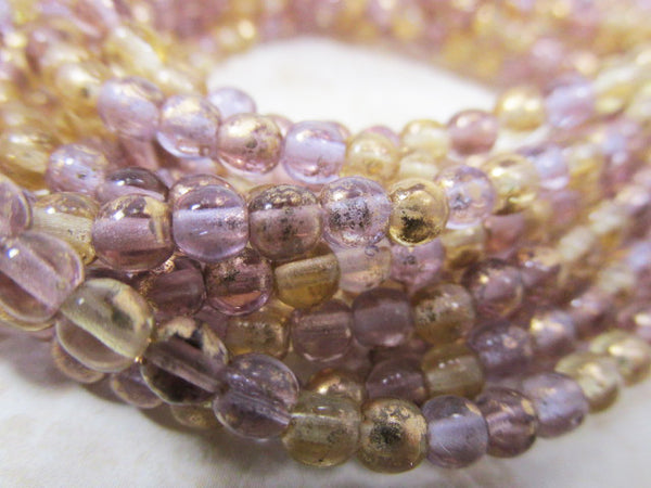 Venetian Mix Amethyst Plum Honey Czech Glass 4mm Round Druk Jewelry Beads (50 beads) - Odyssey Cache