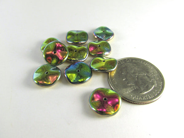 California Meadows Vitrail Medium Shiny Czech Glass 12mm Ripple Beads (14)-Jewelry Beads-Odyssey Cache