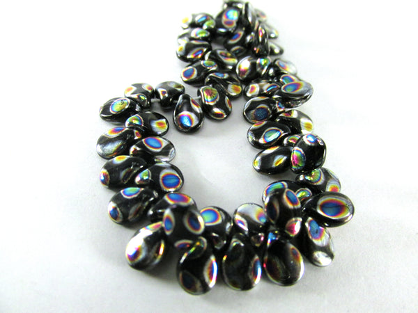 Black Peacock Rainbow Czech Glass 7mm x 5mm Pip Beads (40) - Odyssey Cache