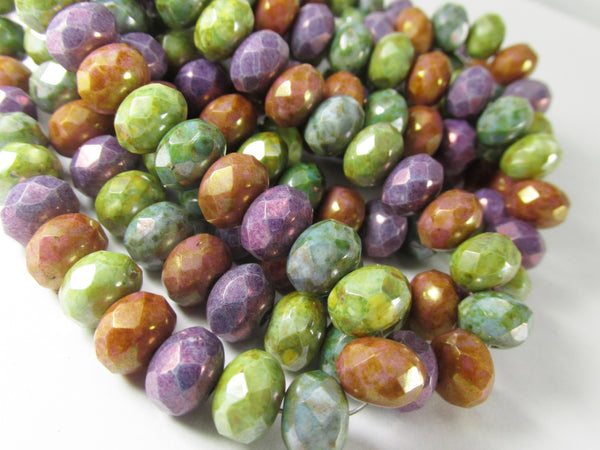 Luster Mix Purple, Aqua, Green, Brown Czech Glass 8mm x 6mm Rondelles-Jewelry Beads-12 beads-Odyssey Cache