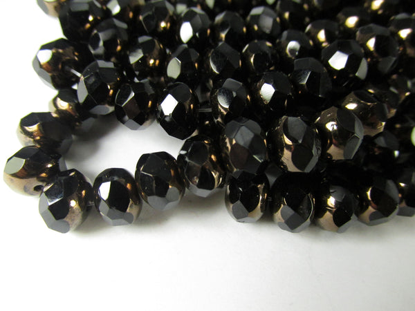 Black with Bronze Picasso Czech Glass 8mm x 6mm Faceted Rondelles-Jewelry Beads-Odyssey Cache