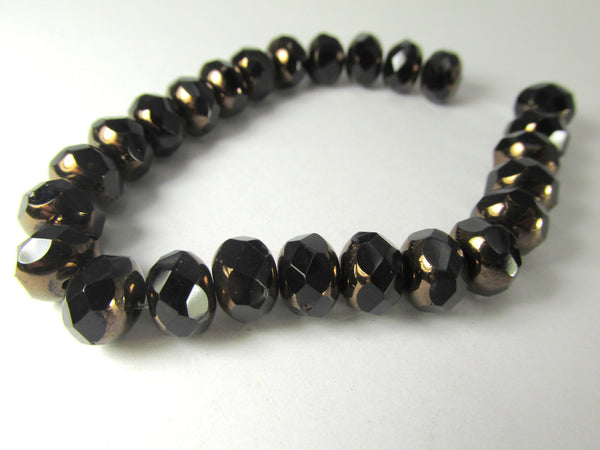 Black with Bronze Picasso Czech Glass 8mm x 6mm Faceted Rondelles - Odyssey Cache